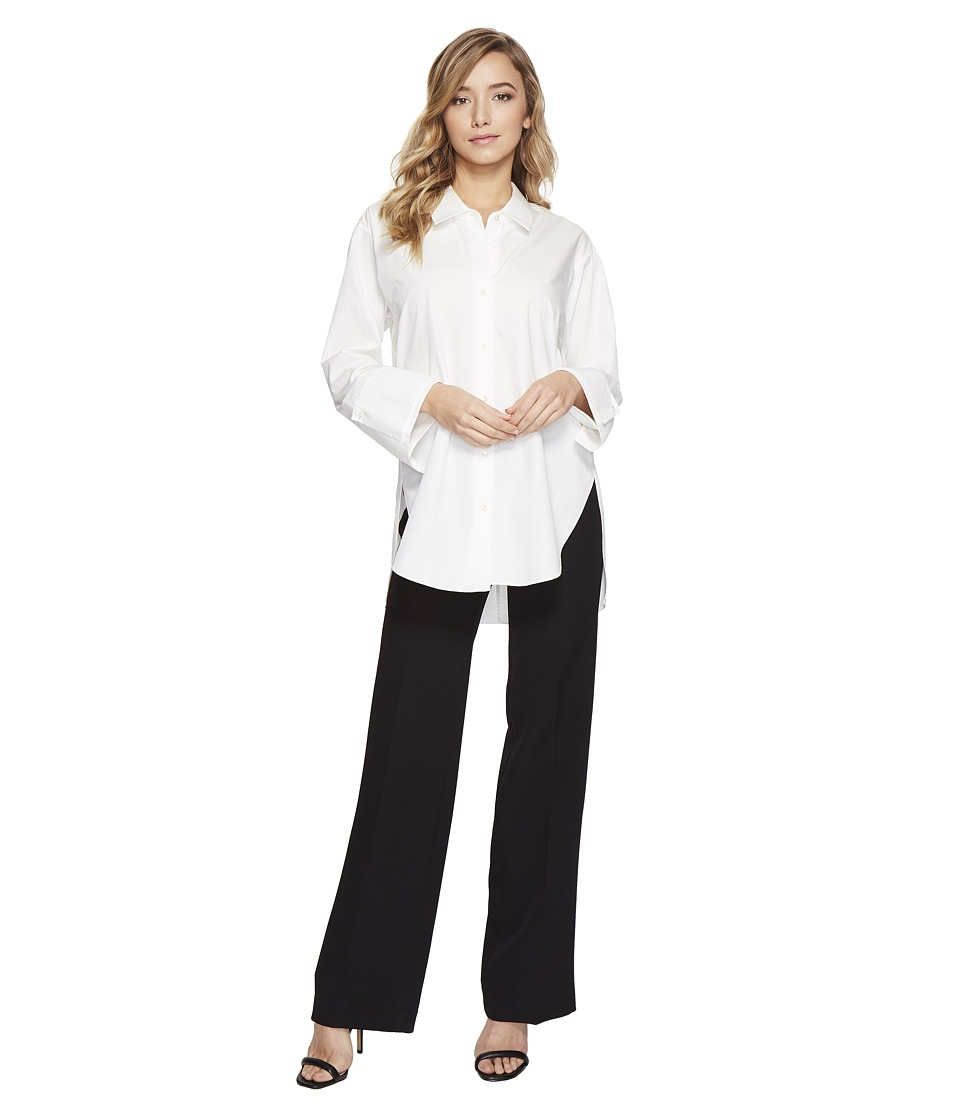 Halston Heritage - Long Sleeve Wide Cuff Cotton Shirt (Chalk) Women's Clothing