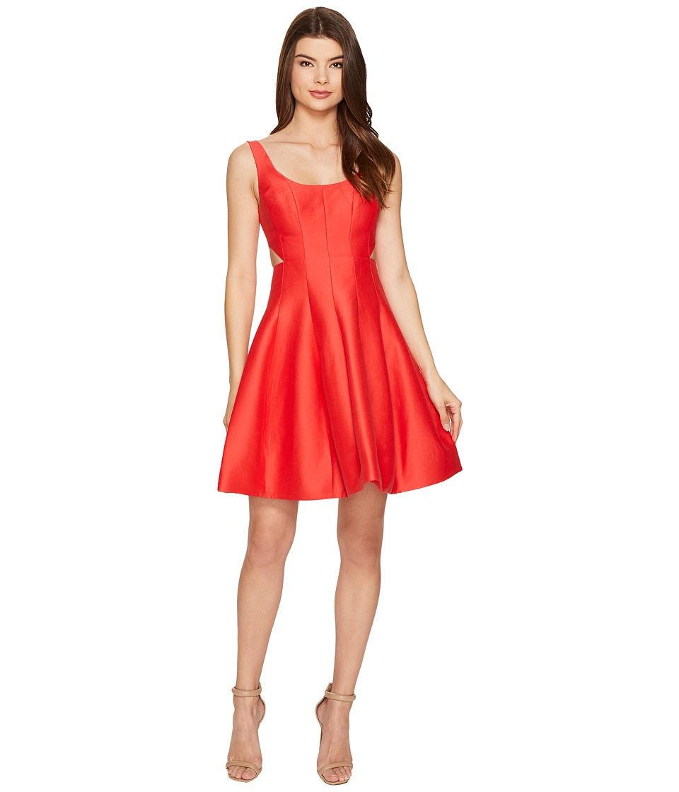 Halston Heritage - Sleeveless Scoop Neck Silk Faille Dress w/ Cut Outs (Poppy) Women's Dress