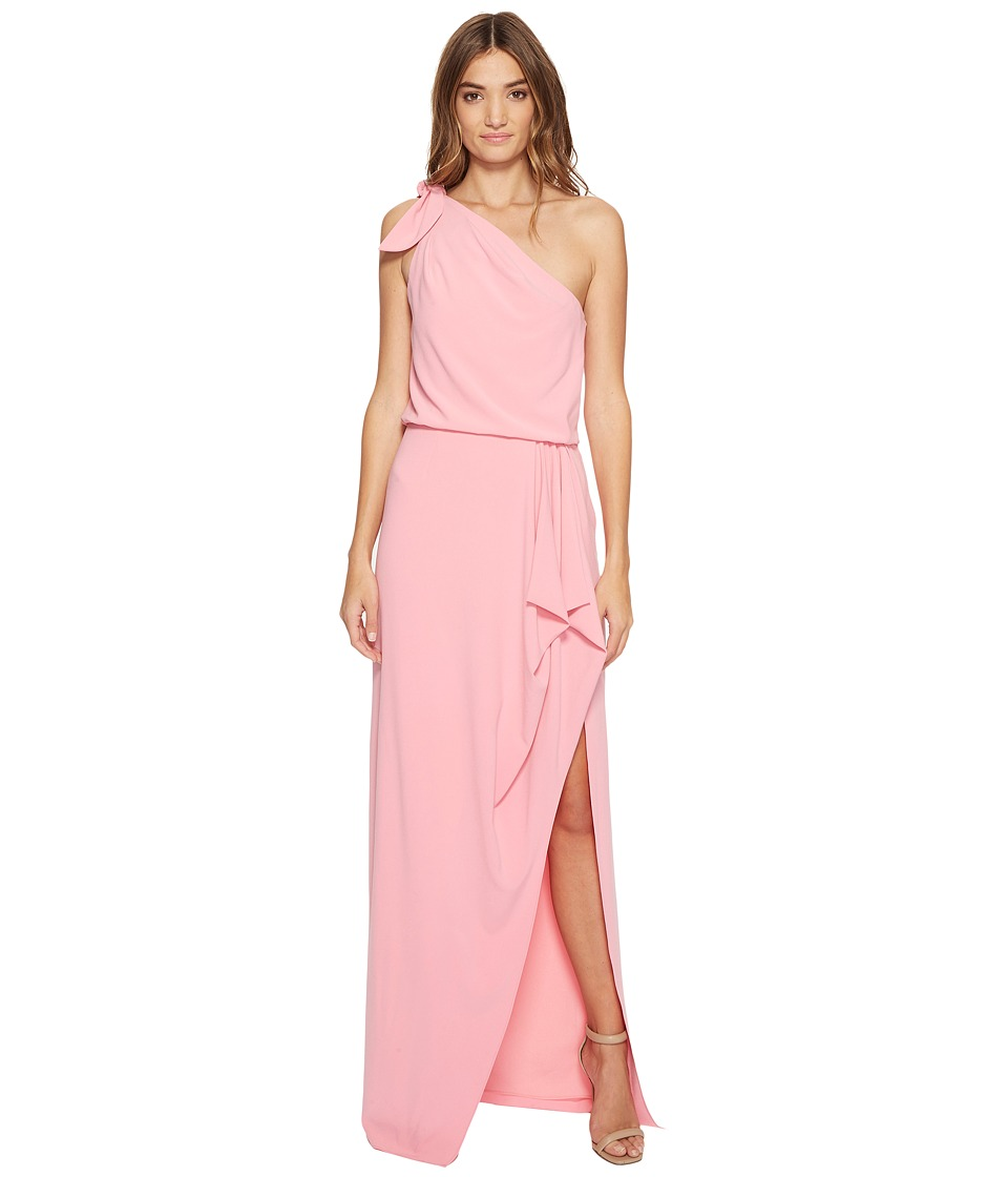 Halston Heritage One Shoulder Crepe Gown Flounce Drape Peony Dress