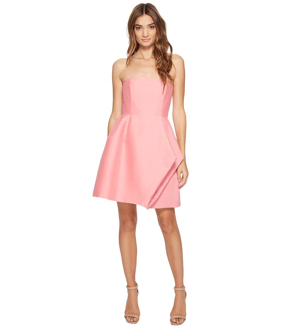Halston Heritage Strapless Silk Faille Dress w/ Folded Drape Skirt (Peony) Women
