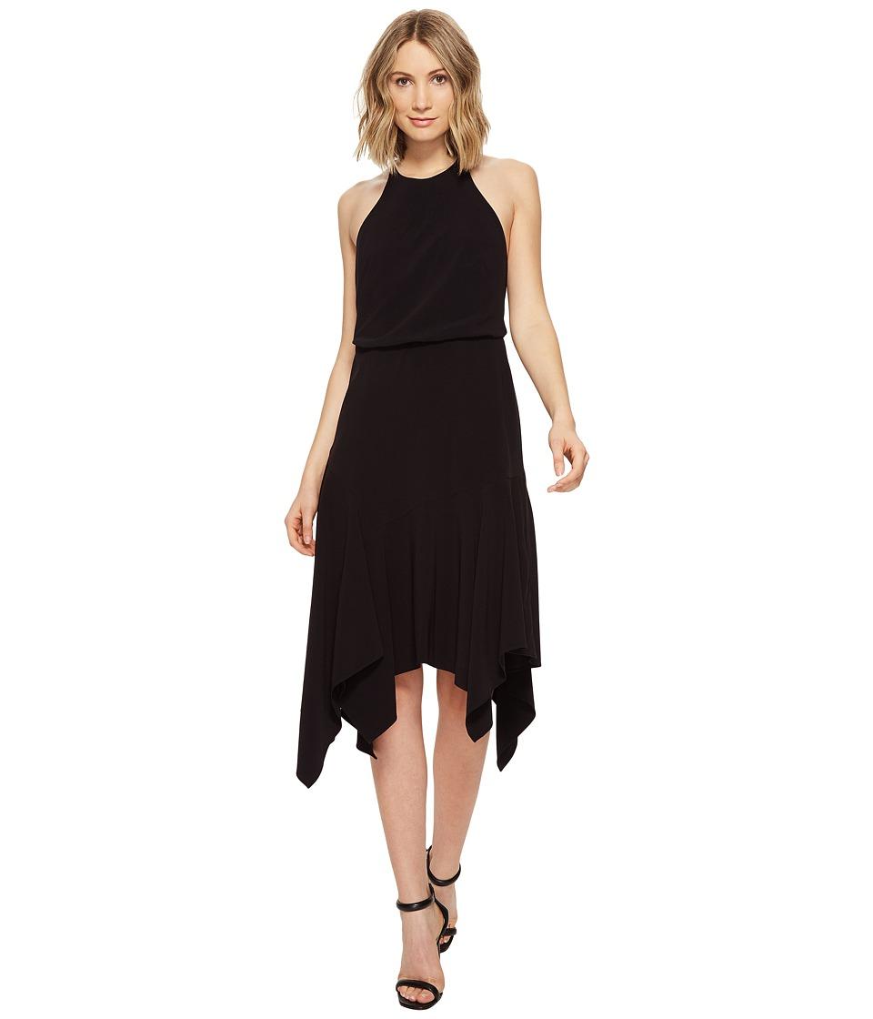 Halston Heritage - Sleeveless Round Neck Flounce Skirt Dress w/ Back Straps (Black) Women's Dress