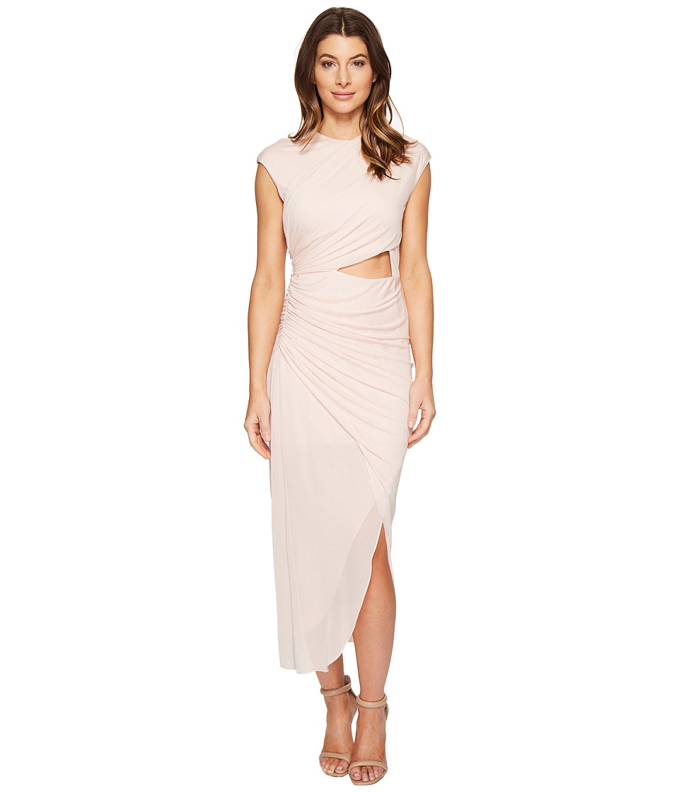 Halston Heritage - Short Sleeve Round Neck Draped Jersey Dress w/ Cut Out (Primrose) Women's Dress