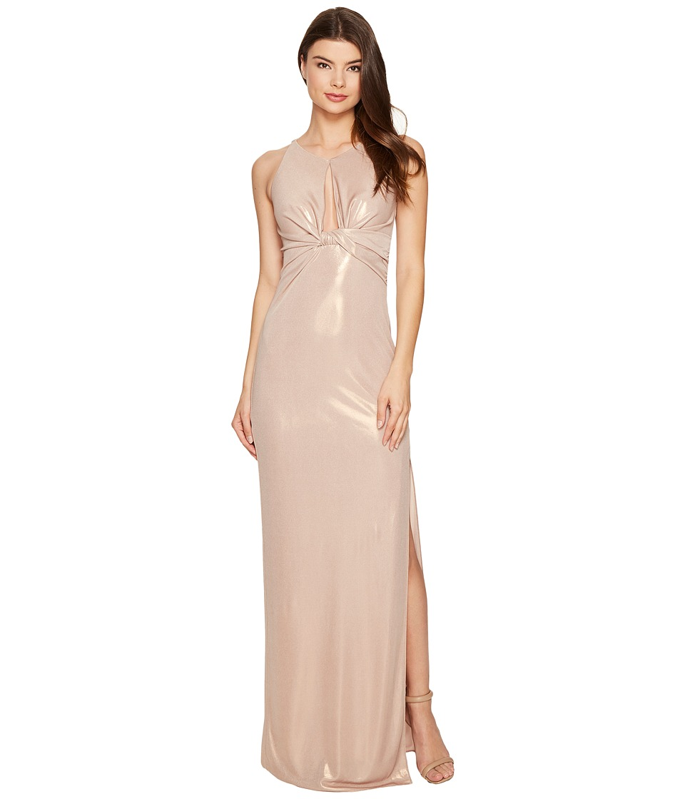 Halston Heritage - Sleeveless Round Neck Metallic Jersey Gown w/ Front Keyhole (Metallic Champagne) Women's Dress