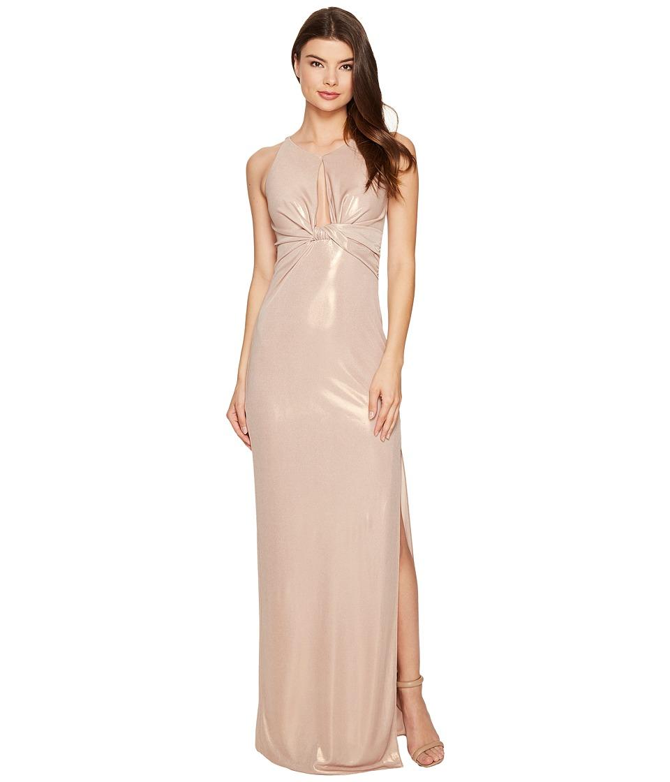 Halston Heritage Sleeveless Round Neck Metallic Jersey Gown w/ Front Keyhole (Metallic Champagne) Women