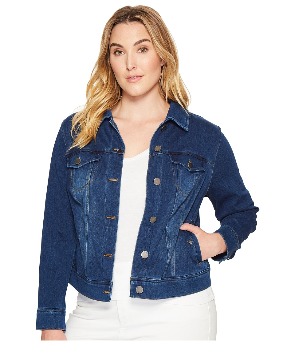 Liverpool - Plus Size Classic Denim Jacket in Powerflex Knit Denim (Admiral Blue) Women's Coat