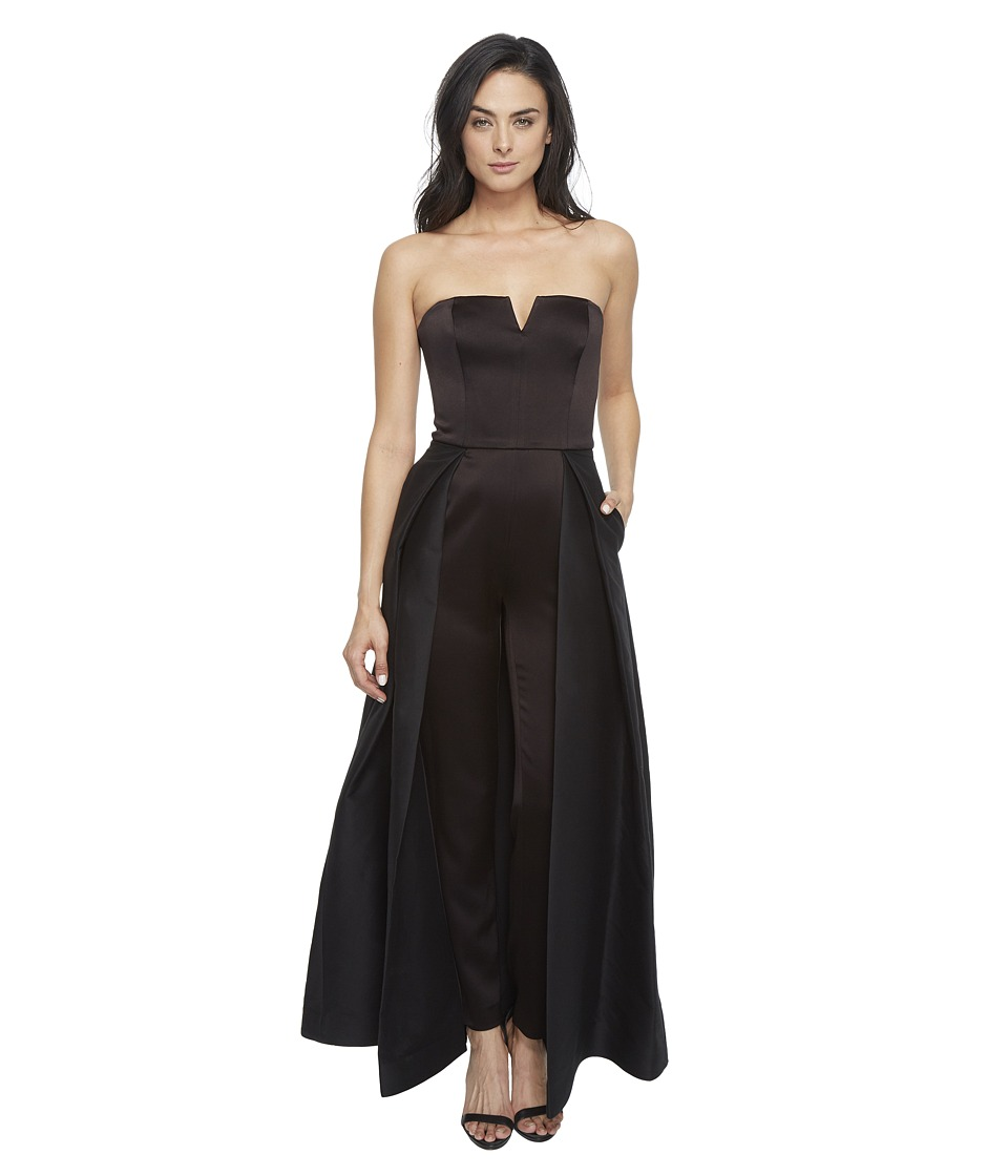 Halston Heritage - Strapless Jumpsuit with Structured Skirt Overlay (Black) Women's Jumpsuit & Rompers One Piece