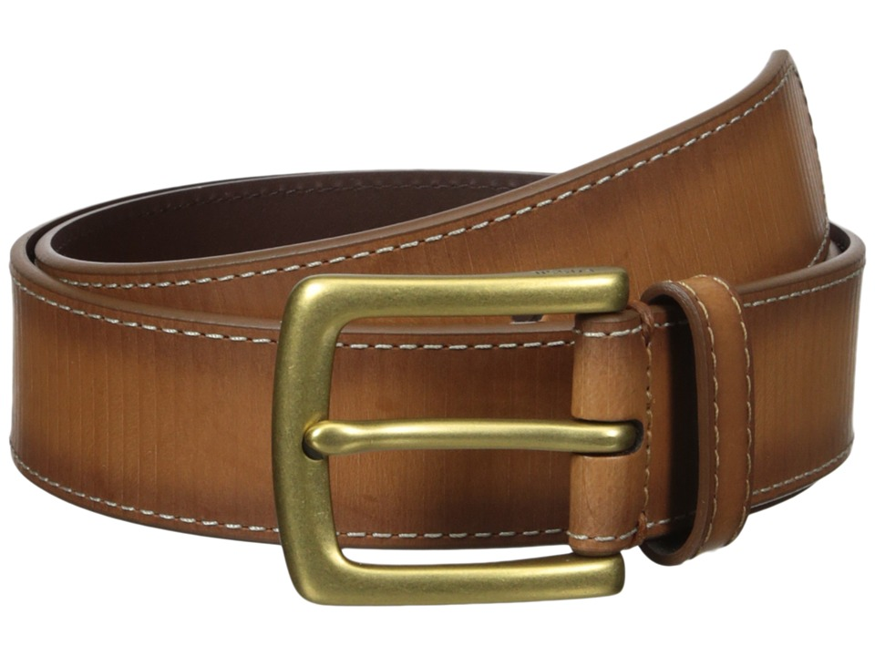 Fossil - Remy All Over Emboss Leather Belt (Cognac) Men's Belts