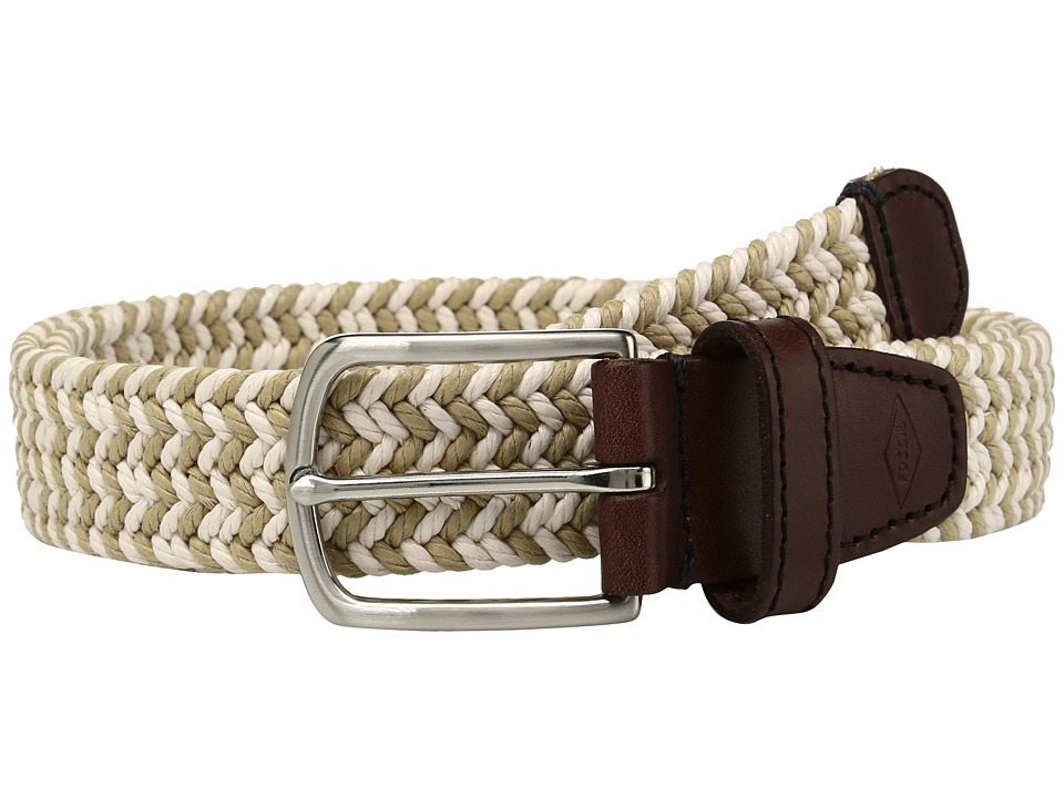 Fossil - Kyle Braided Fabric Belt (Khaki) Men's Belts