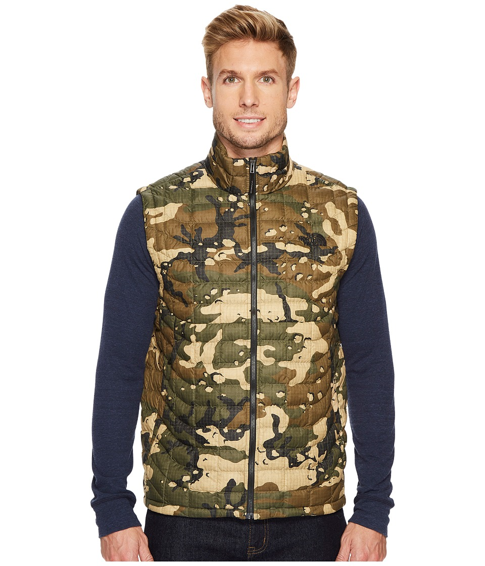 The North Face Thermoball Vest (Burnt Olive Green Woodchip Camo Print) Men
