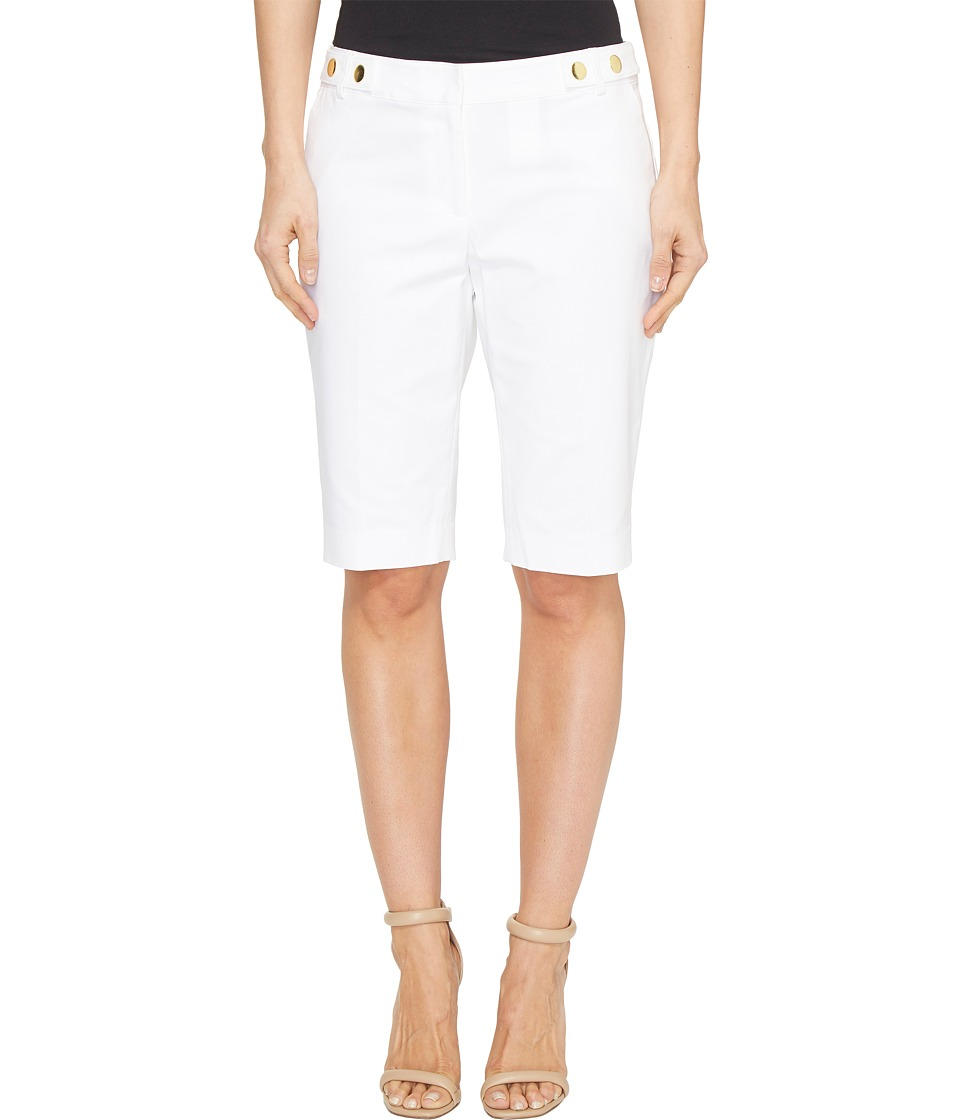 MICHAEL Michael Kors - Snap Waist Bermuda Shorts (White) Women's Shorts