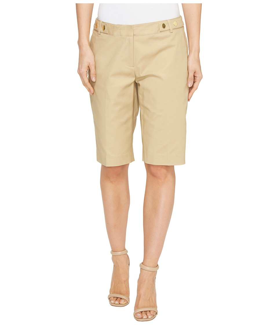 MICHAEL Michael Kors - Snap Waist Bermuda Shorts (Khaki) Women's Shorts