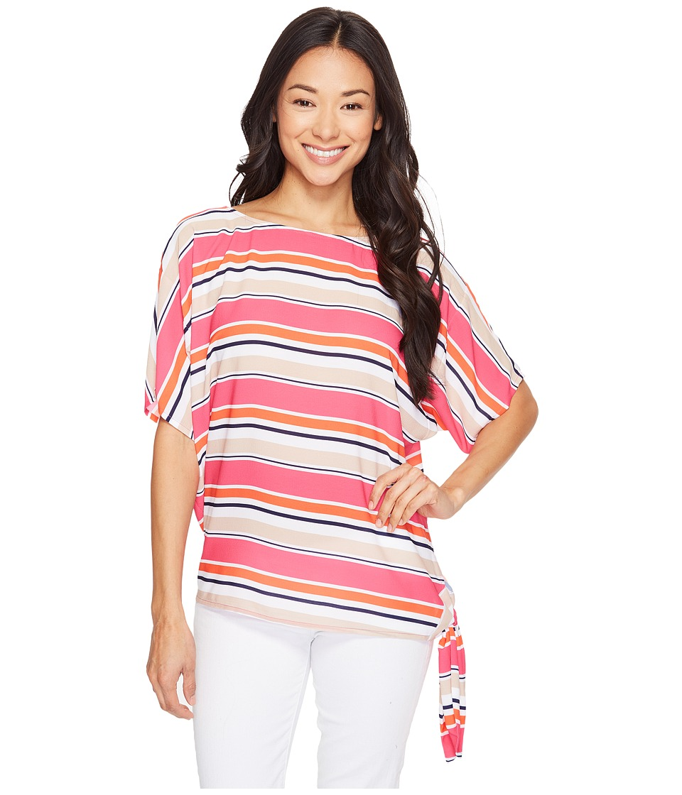 MICHAEL Michael Kors - Madison Multi Stripe Top (Electric Pink) Women's Clothing