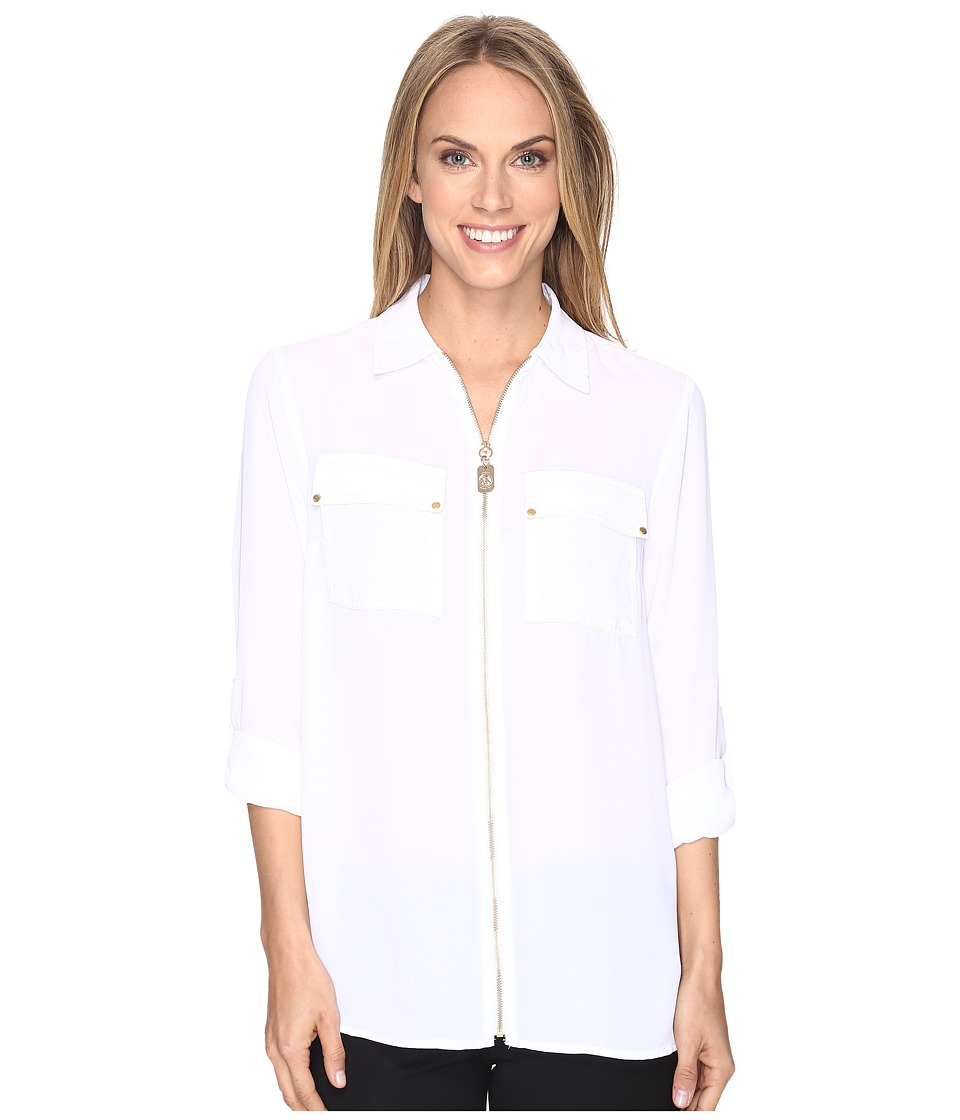 MICHAEL Michael Kors - Dog Tag Zip Top (White) Women's Clothing
