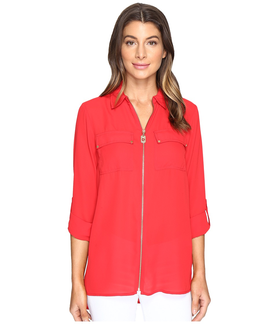 MICHAEL Michael Kors - Dog Tag Zip Top (True Red) Women's Clothing