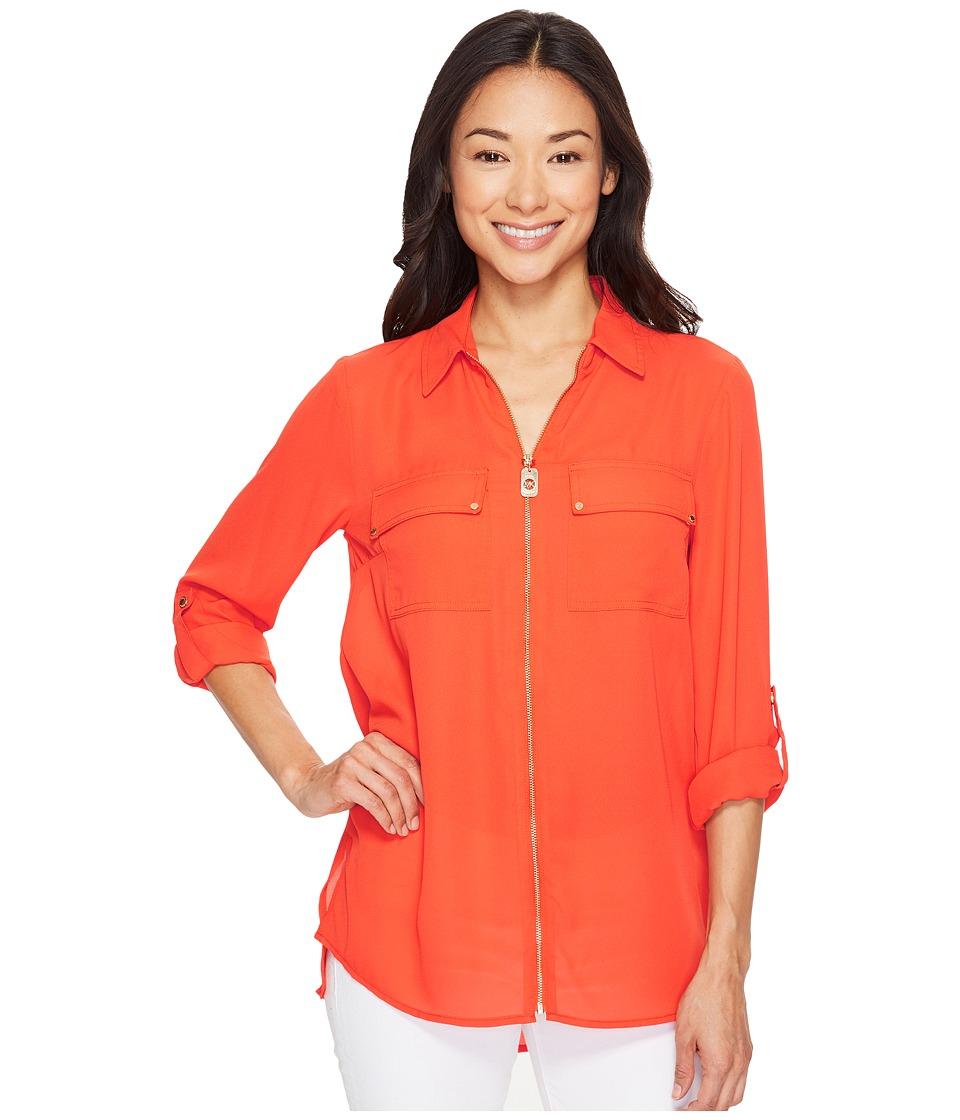 MICHAEL Michael Kors - Dog Tag Zip Top (Mandarin) Women's Clothing
