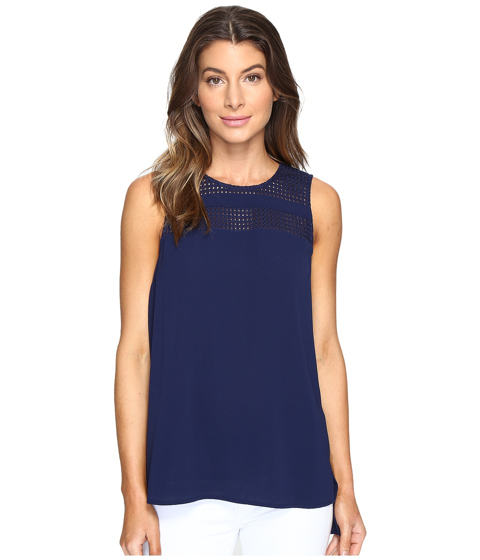 MICHAEL Michael Kors - Eyelet Detail Top (True Navy) Women's Clothing