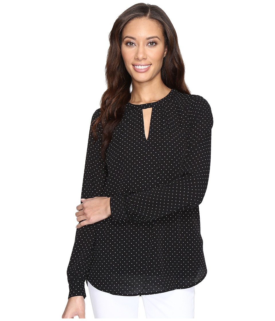 MICHAEL Michael Kors - Tiny Dots Long Sleeve Top (Black) Women's Clothing