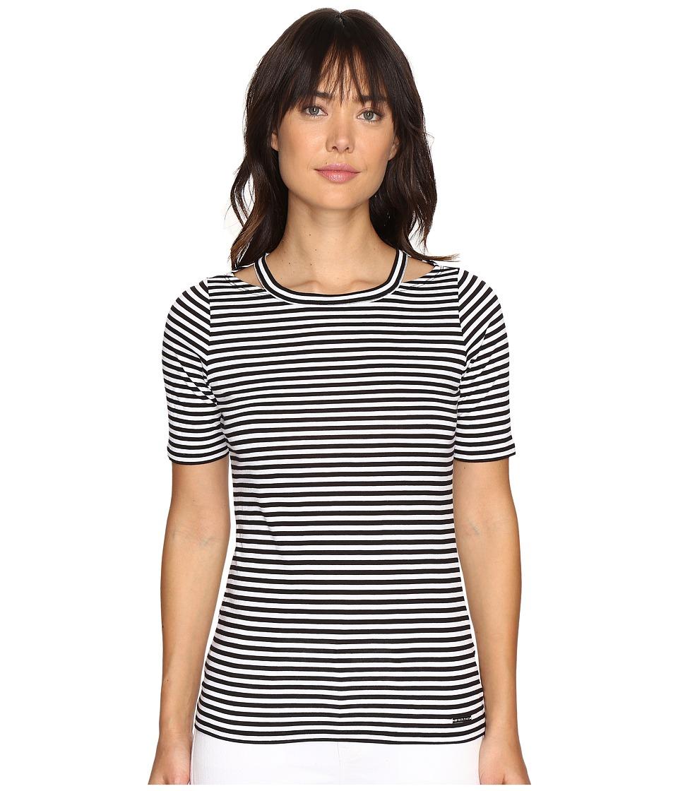 MICHAEL Michael Kors - Stripe Detached Neck Top (Black) Women's Clothing