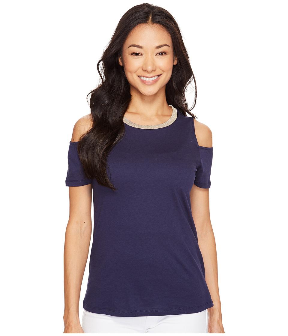 MICHAEL Michael Kors - Lurex Neck Cold Shoulder Top (True Navy) Women's Clothing