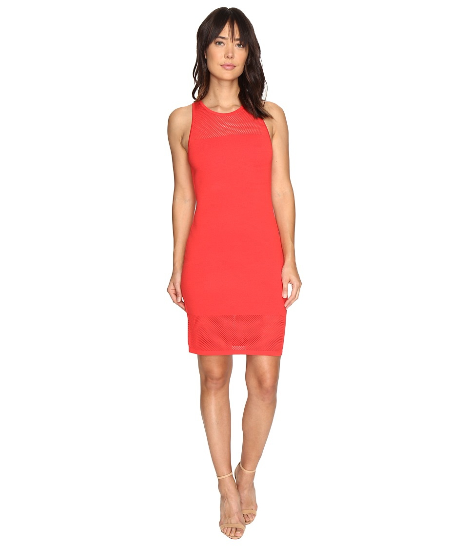 MICHAEL Michael Kors Mesh Stitch Tank Sweater Dress (Coral Reef) Women