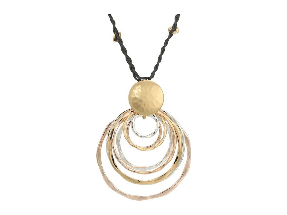 Robert Lee Morris - Layered Tri-Tone Hammered Sculptural Ring Pendant Long Necklace (Tri-Tone) Necklace