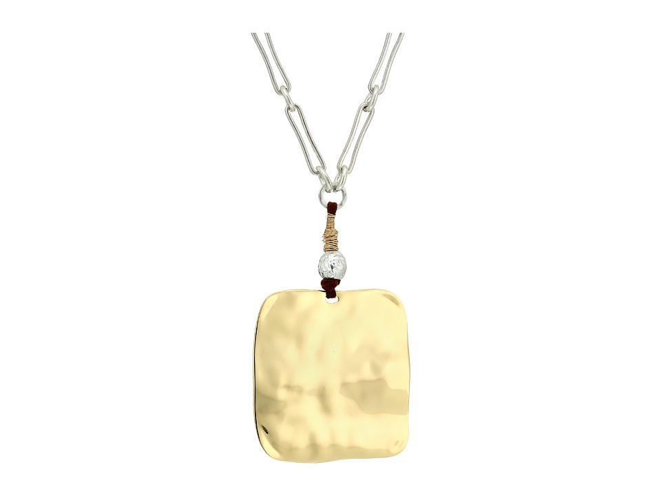 Robert Lee Morris - Sculptural Square Pendant Necklace (Two-Tone) Necklace