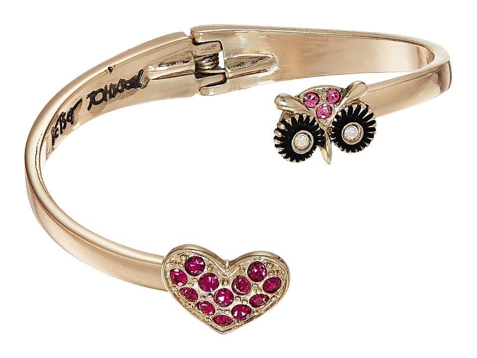 Betsey Johnson - Owl Pave Heart Bypass Hinged Bangle Bracelet (Pink) Bracelet