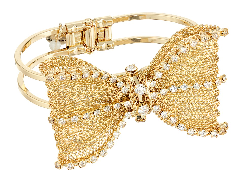 Betsey Johnson - Mesh Crystal Bow Hinged Bangle Bracelet (Crystal) Bracelet