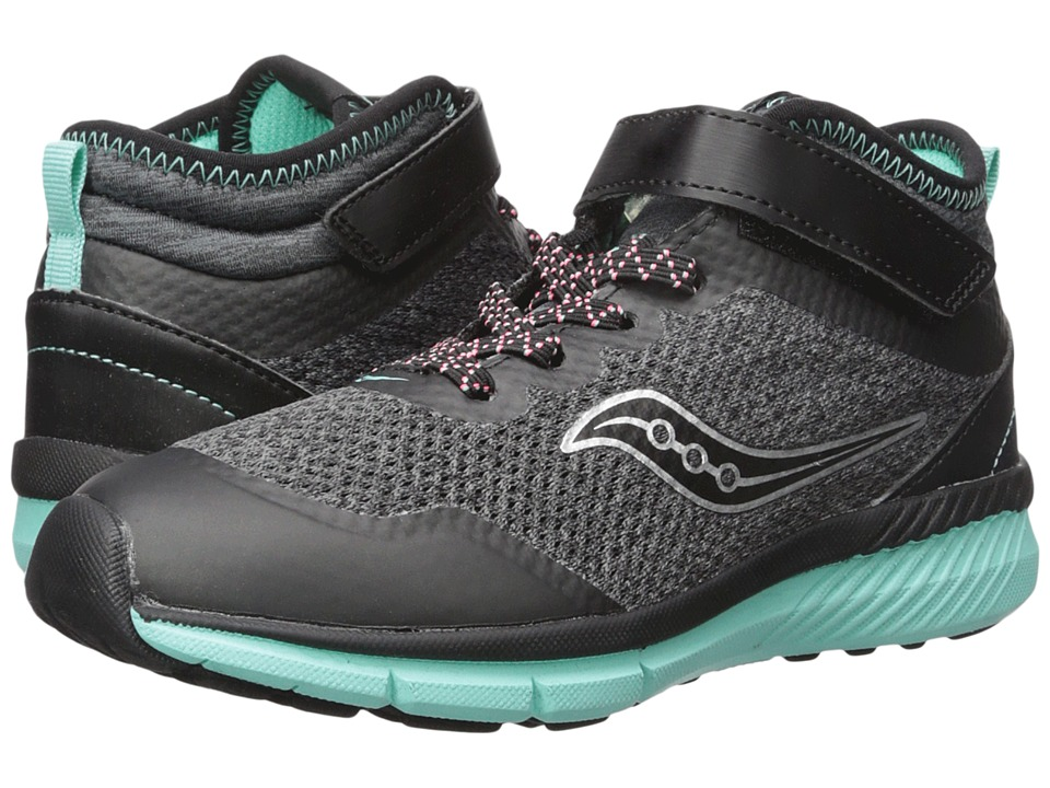 Saucony Kids Ideal Mid (Little Kid/Big Kid) (Black/Turquoise) Girls Shoes