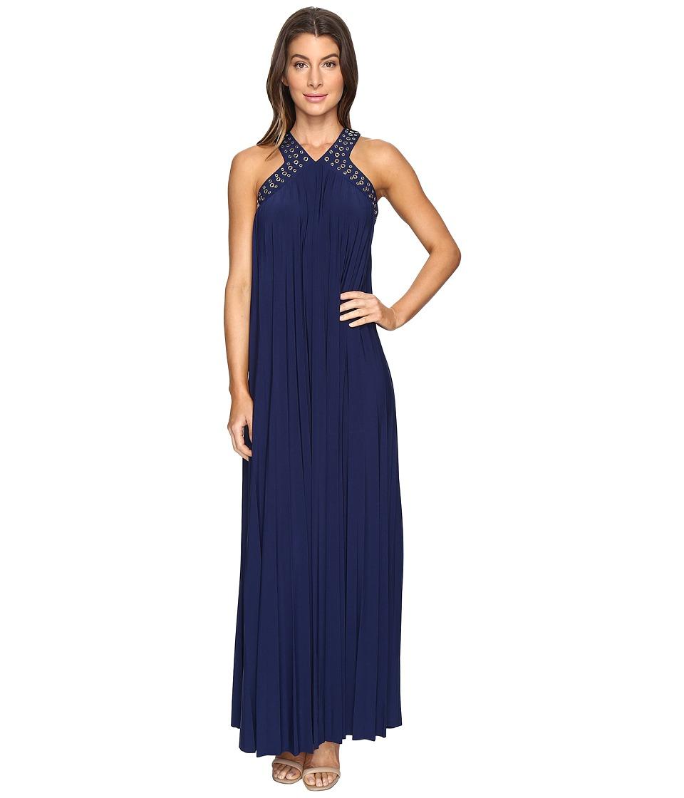 MICHAEL Michael Kors Perma Pleat Embroidered Maxi Dress (True Navy) Women