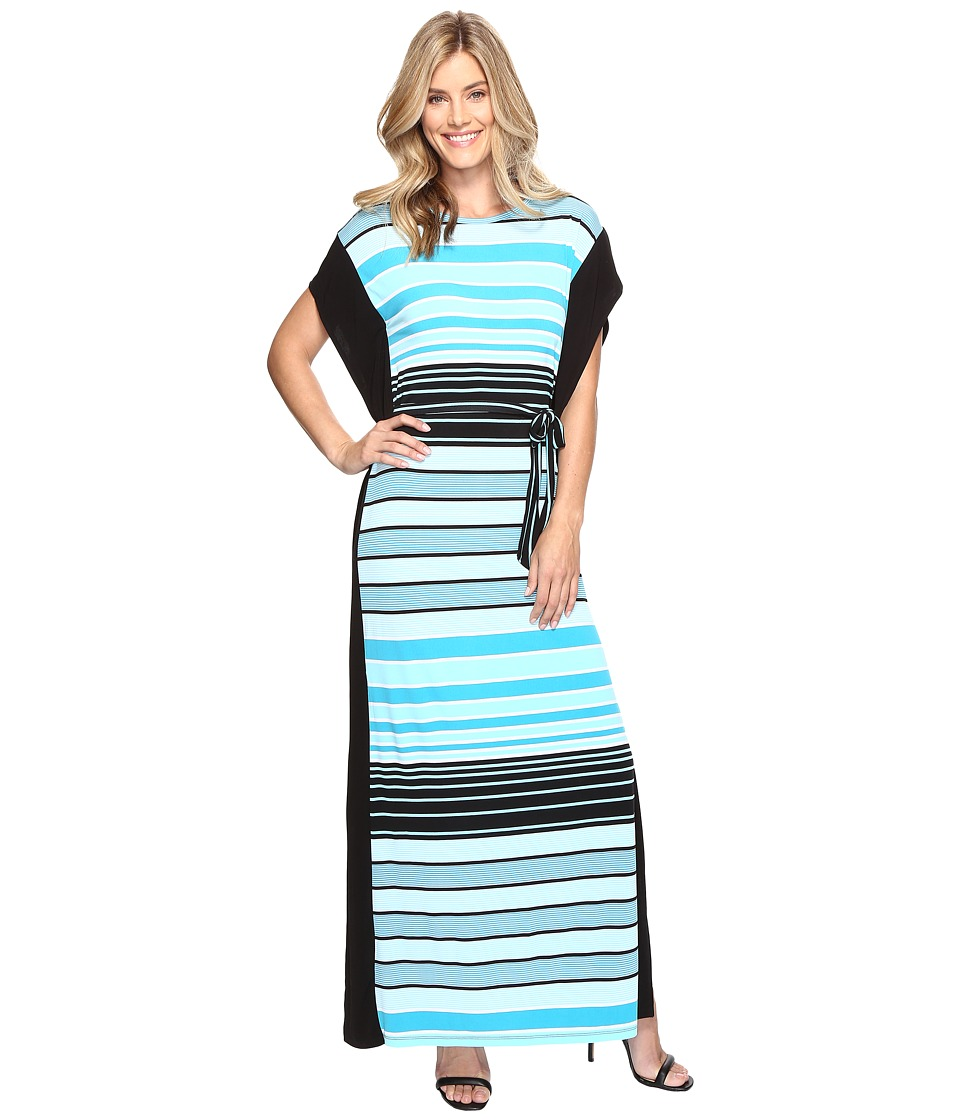 MICHAEL Michael Kors Abbey Stripe Maxi Dress (Dark Peacock) Women