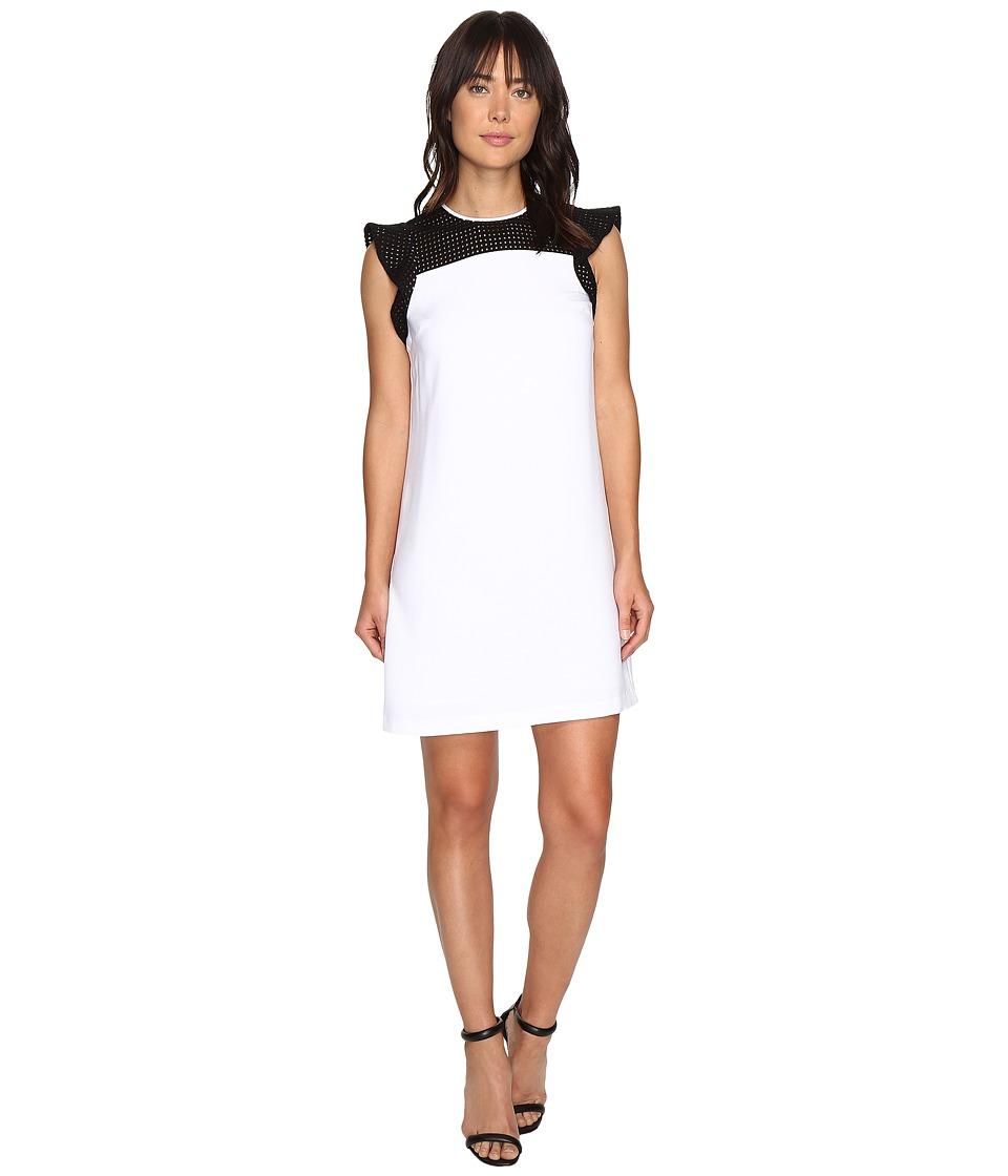 MICHAEL Michael Kors Eyelet Yoke Dress (White) Women