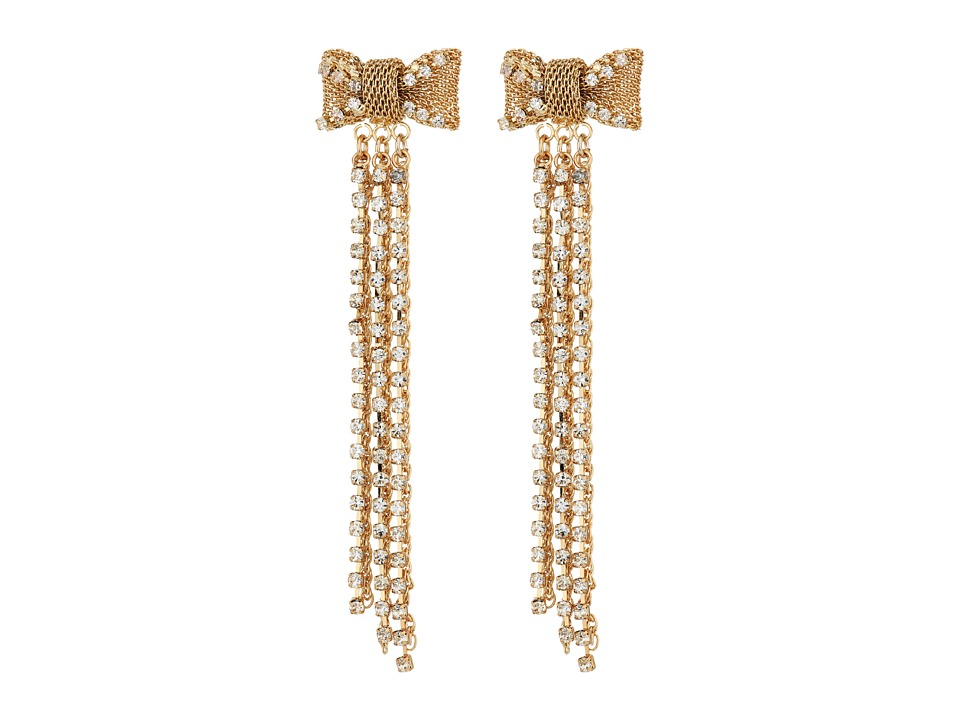 Betsey Johnson - Mesh Crystal Bow Fringe Linear Earrings (Crystal) Earring