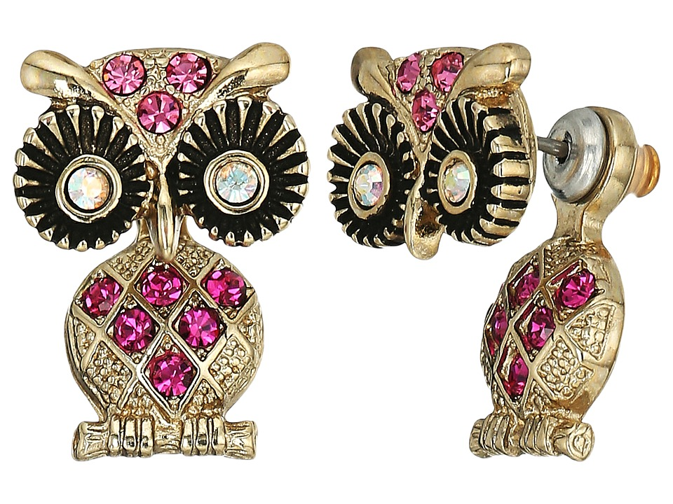 Betsey Johnson - Owl Ear Jacket Earrings (Pink) Earring
