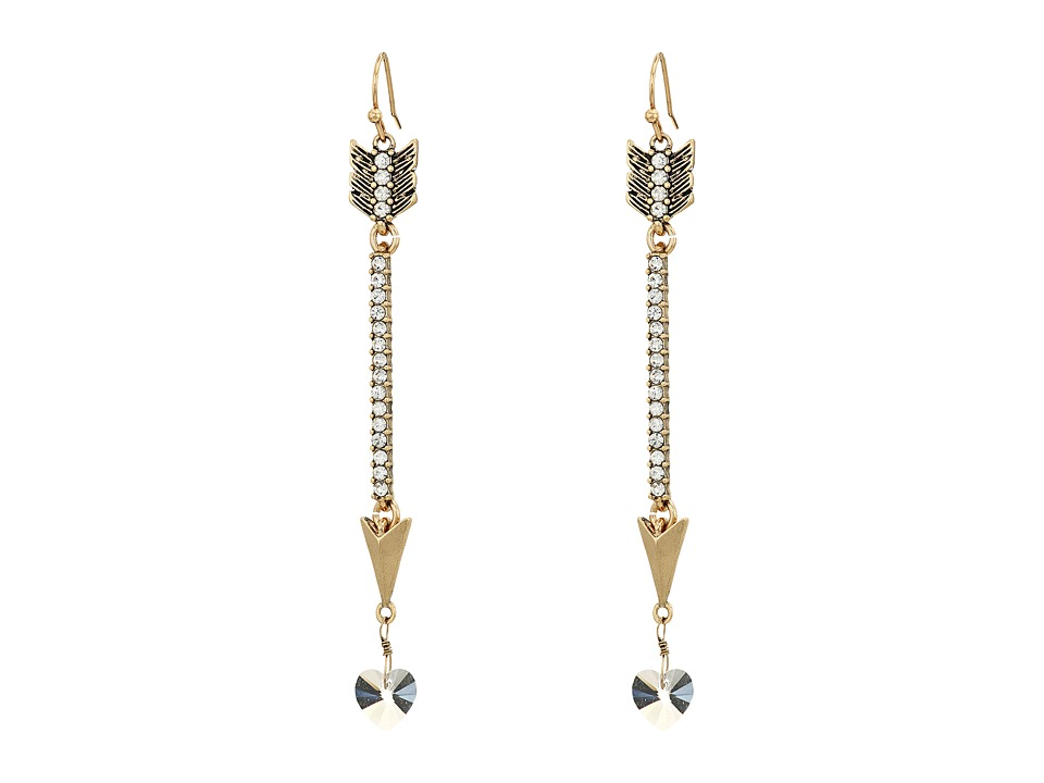 Betsey Johnson - Arrow Linear Earrings (Crystal) Earring
