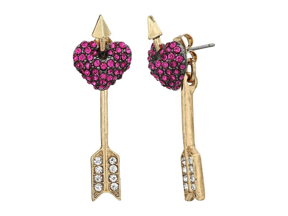 Betsey Johnson - Pave Heart Ear Jacket Earrings (Pink) Earring