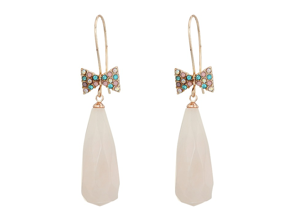 Betsey Johnson - Pave Bow Stone Drop Earrings (Multi) Earring