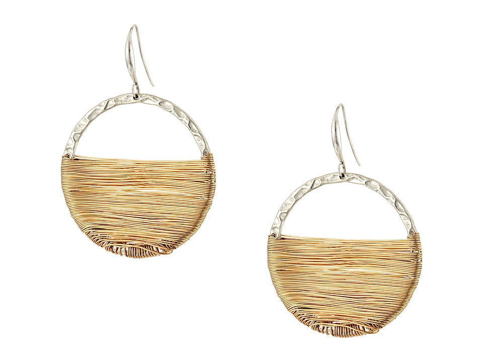 Robert Lee Morris - Wire Wrapped Gypsy Hoop Earrings (Two-Tone) Earring