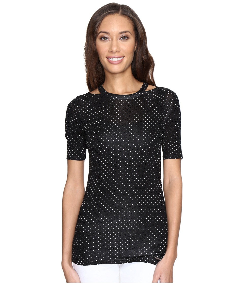 MICHAEL Michael Kors - Dot Detached Neck Top (Black) Women's Clothing