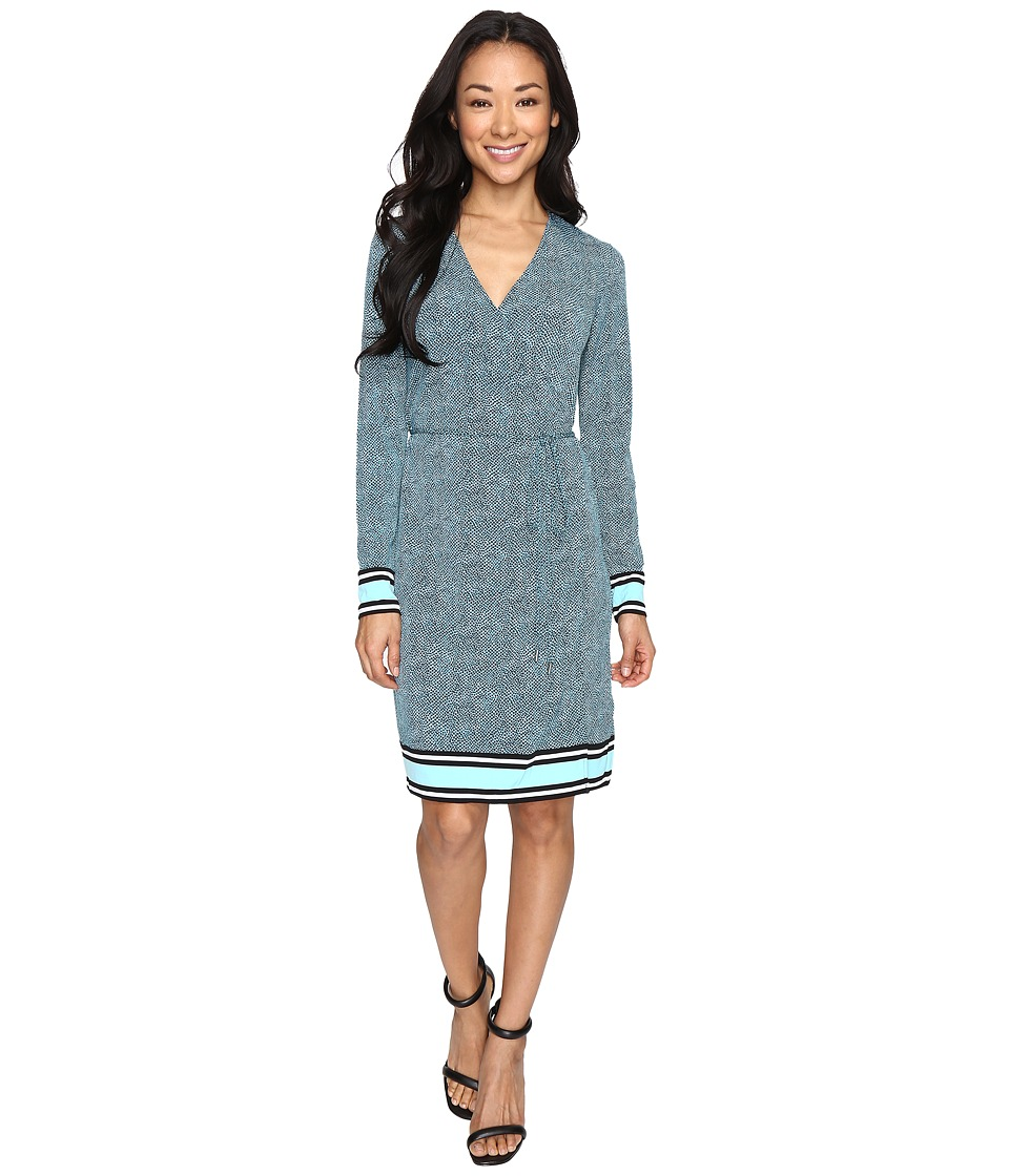 MICHAEL Michael Kors - Stingray Border Wrap Dress (Turquoise) Women's Dress