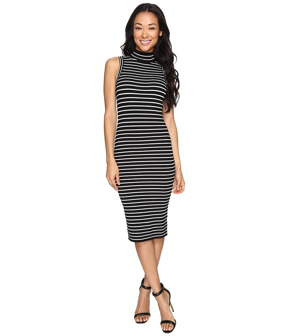 MICHAEL Michael Kors Neck Stripe Rib Dress (Black) Women