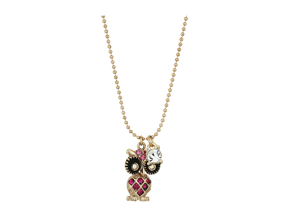 Betsey Johnson - Owl Pendant Necklace (Pink) Necklace