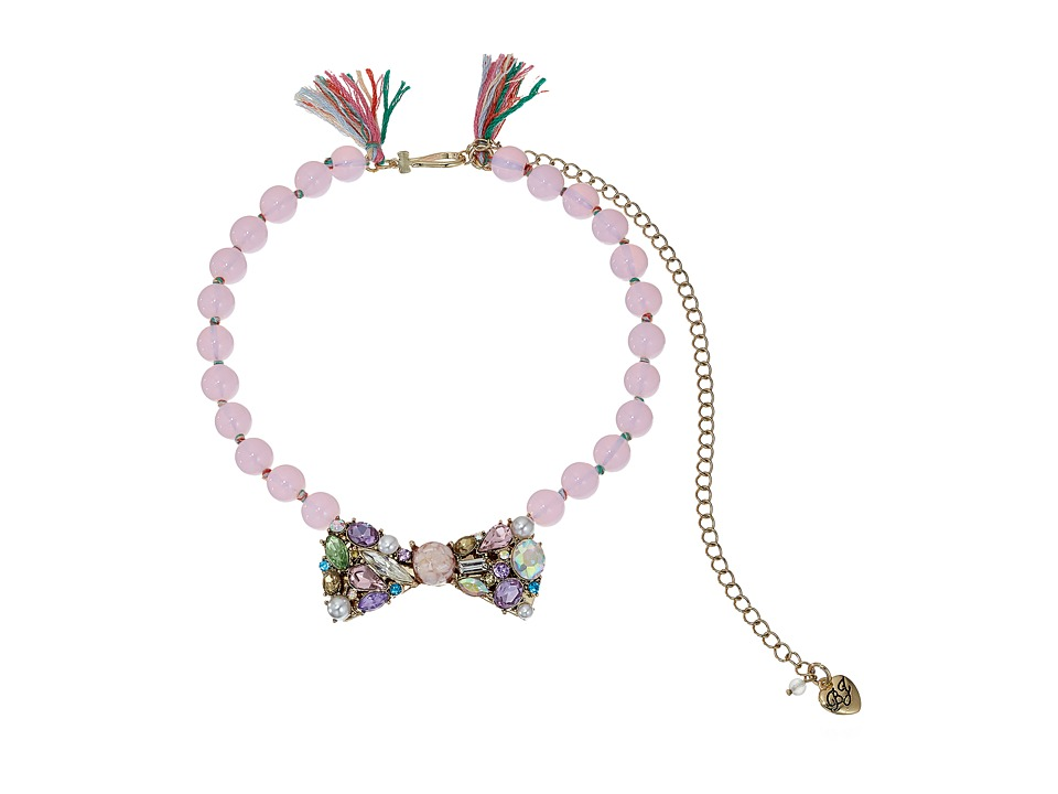 Betsey Johnson - Mixed Multicolored Stone Bow Frontal Beaded Necklace (Multi) Necklace