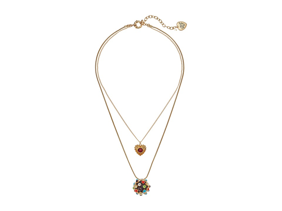 Betsey Johnson - Heart Mixed Stone Ball Double Pendant Necklace (Multi) Necklace