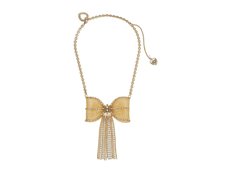 Betsey Johnson - Large Mesh Crystal Bow Fringe Frontal Necklace (Crystal) Necklace
