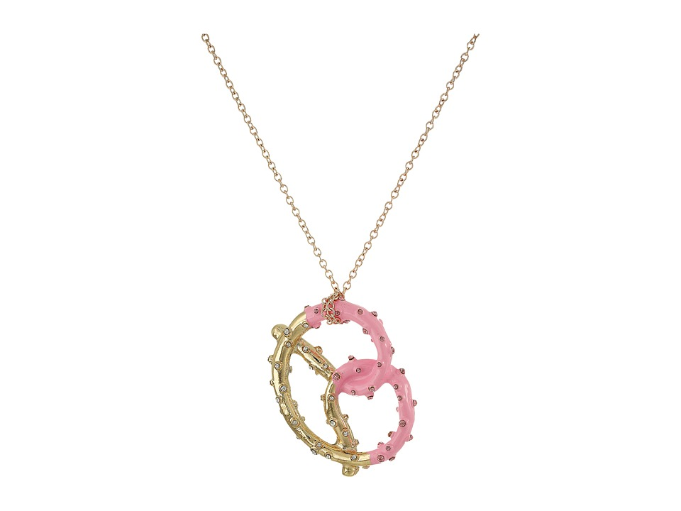 Betsey Johnson - Pretzel Pendant Long Necklace (Pink) Necklace