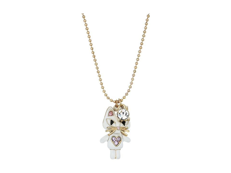 Betsey Johnson - Cat Pendant Necklace (White) Necklace