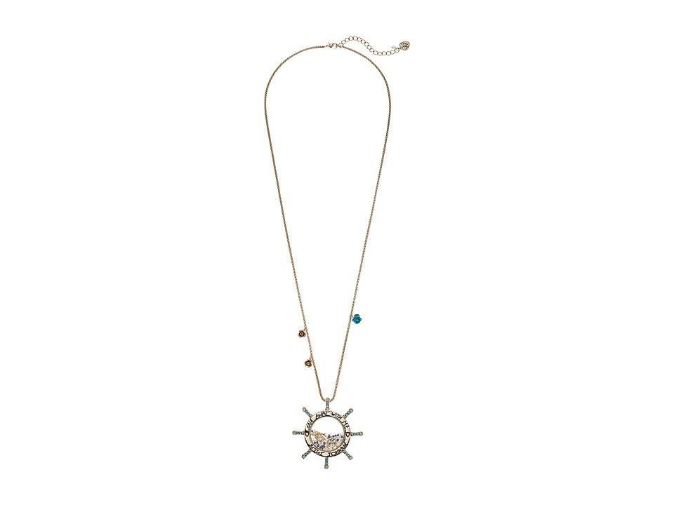Betsey Johnson - Sail Away with Me Wheel Pendant Long Necklace (Blue) Necklace
