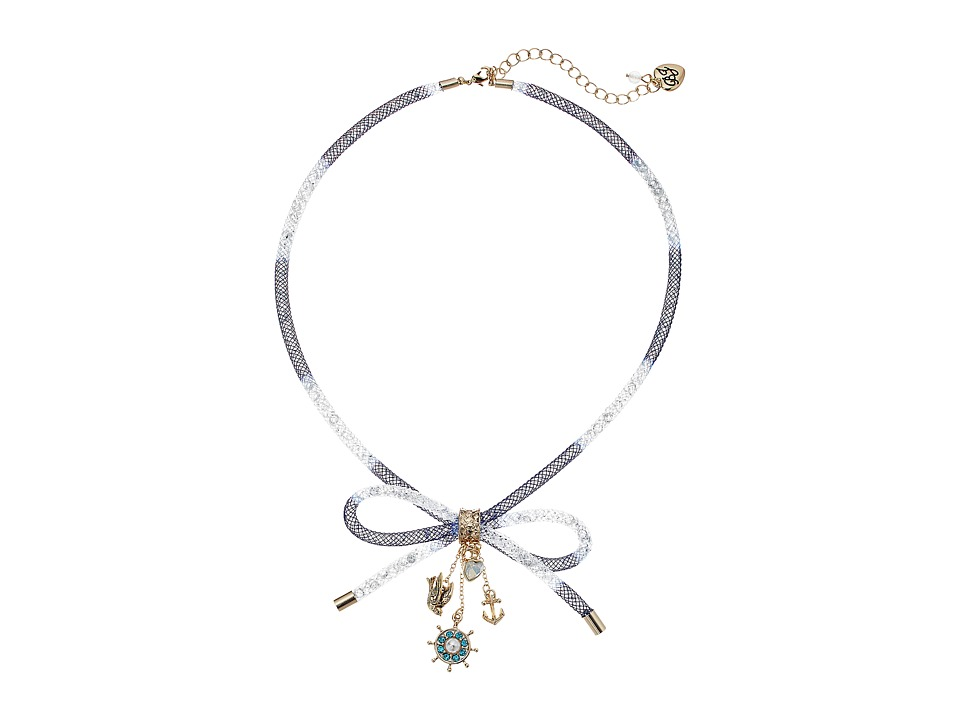 Betsey Johnson - Mesh Tube Bow Frontal Multi Charm Necklace (Blue) Necklace