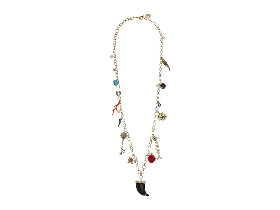 Betsey Johnson - Mixed Multi Charm Long Station Necklace (Multi) Necklace
